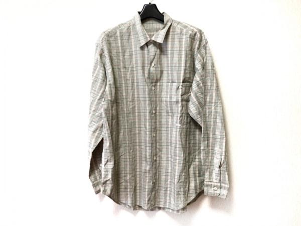 Papas(パパス) 長袖シャツ サイズM メンズ ベージュ×ライトグリーン チェック柄
