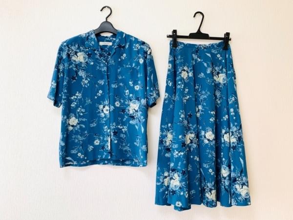 カネコイサオ スカートセットアップ レディース ブルー×ダークネイビー×マルチ 花柄