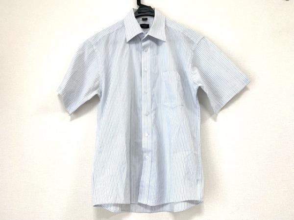 ポールスミス 半袖シャツ サイズ15 1/2 メンズ 白×ライトブルー ストライプ