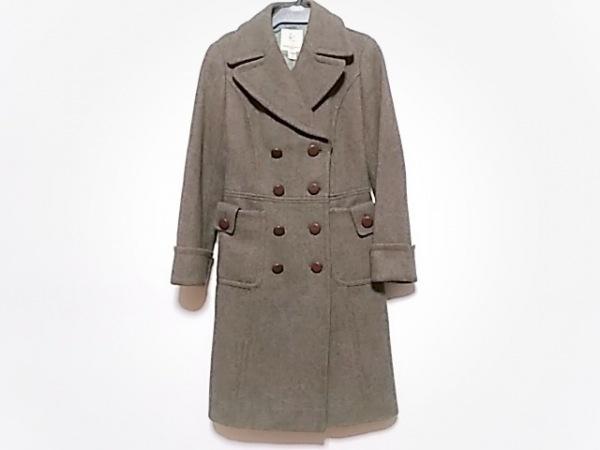 クミキョク コート サイズ52 XL レディース ダークブラウン×ベージュ 冬物