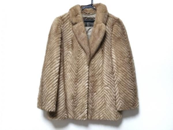 ROTINY(ロティニー) コート サイズ11 M レディース ブラウン×ベージュ 冬物/ファー