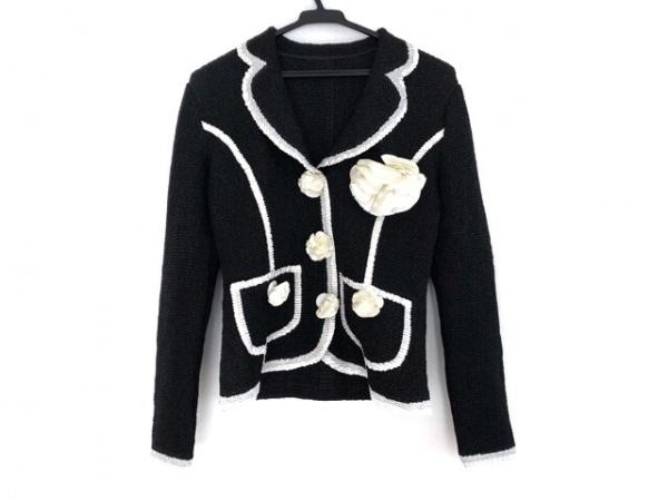 NOKO OHNO(ノコオーノ) ジャケット サイズ40 M レディース 黒×白 フラワー/シワ加工