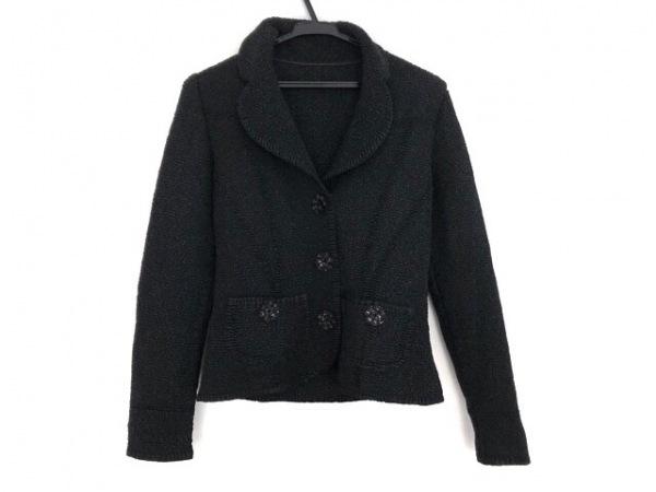 NOKO OHNO(ノコオーノ) ジャケット サイズ40 M レディース 黒 スパンコール/シワ加工