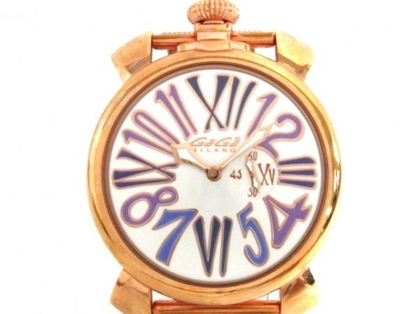 GAGA MILANO(ガガミラノ) 腕時計 マヌアーレ46 5081 レディース シルバー×パープル