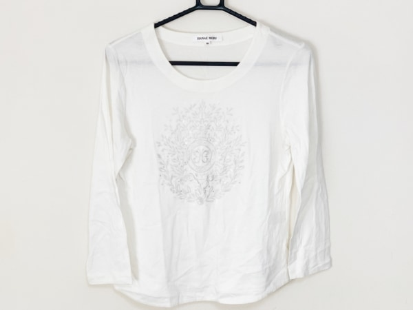HANAE MORI(ハナエモリ) 七分袖Tシャツ サイズ38 M レディース アイボリー×シルバー