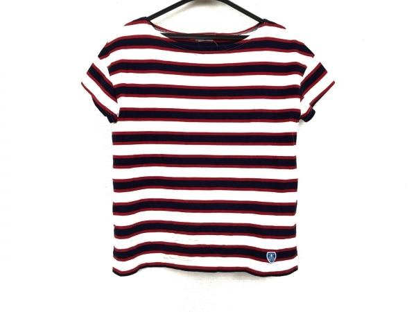 オーシバル 半袖Tシャツ サイズF レディース美品  アイボリー×ネイビー×レッド