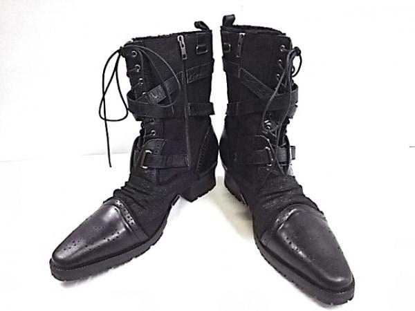 JACKROSE(ジャックローズ) ショートブーツ 43 メンズ 黒 キャンバス×合皮