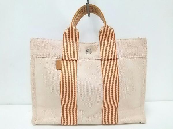 HERMES(エルメス) トートバッグ ニューフールトゥトートPM 白×オレンジ シルバー金具