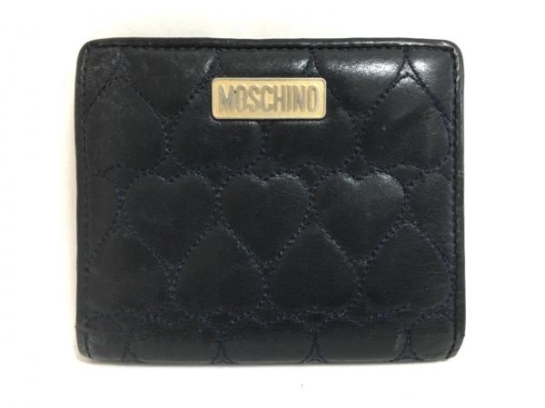MOSCHINO(モスキーノ) 2つ折り財布 ダークネイビー レザー