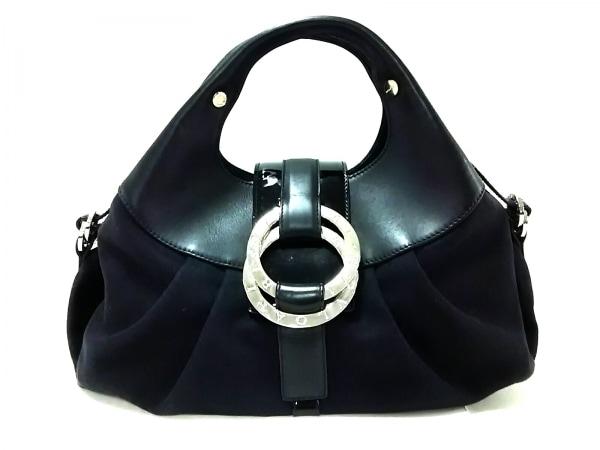 ブルガリ ハンドバッグ チャンドラ 黒 レザー×キャンバス×エナメル(レザー)