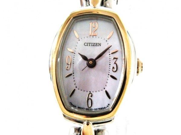 シチズン 腕時計美品  B035-5047358 レディース エコドライブ/シェル文字盤 白