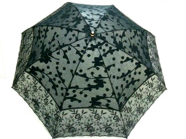 JUNKO SHIMADA(ジュンコシマダ) 日傘 黒×グレー 刺繍 化学繊維 1