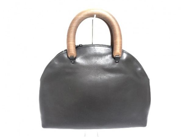 JURGEN LEHL(ヨーガンレール) ハンドバッグ 黒×ブラウン レザー×ウッド