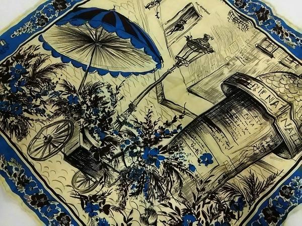 manipuri(マニプリ) スカーフ美品  アイボリー×ブルー×マルチ 花柄