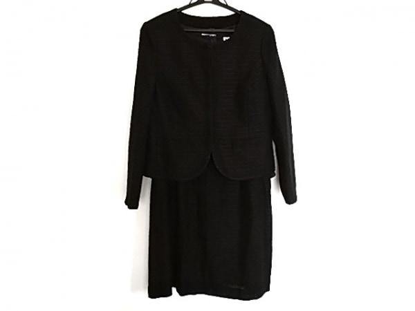 クミキョク ワンピーススーツ サイズ3 L レディース美品  黒×ネイビー ニット