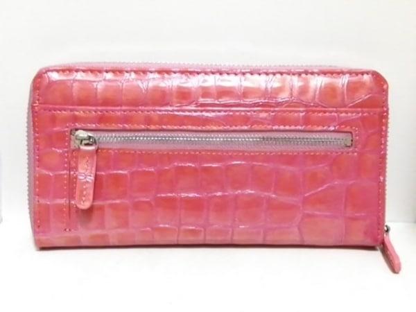 FRECCIA(フレッチャ) 長財布新品同様  ピンク ラウンドファスナー/型押し加工