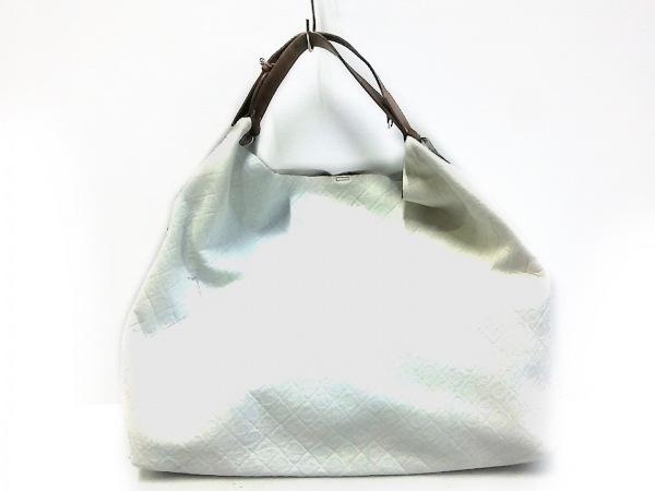 GHERARDINI(ゲラルディーニ) トートバッグ 白×ダークブラウン 型押し加工 レザー