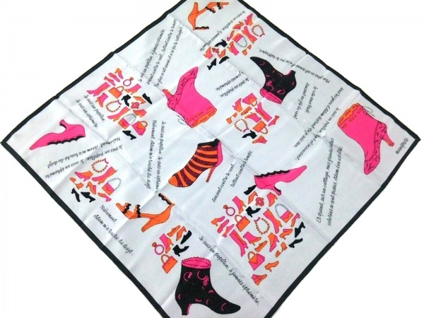 manipuri(マニプリ) スカーフ美品  ライトグレー×ピンク×マルチ