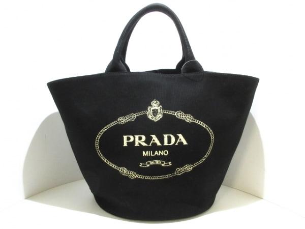 PRADA(プラダ) ハンドバッグ美品  CANAPA 1BG163 黒 キャンバス