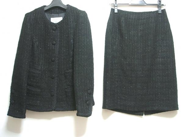 LIMINI(リミニ) スカートスーツ サイズ40 M レディース 黒 ツイード/ラメ