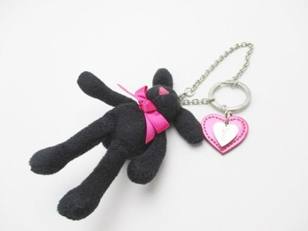 イヴサンローラン キーホルダー(チャーム) 黒×ピンク×シルバー ウサギ