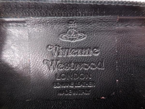 ヴィヴィアンウエストウッド コインケース 黒 ラウンドファスナー レザー