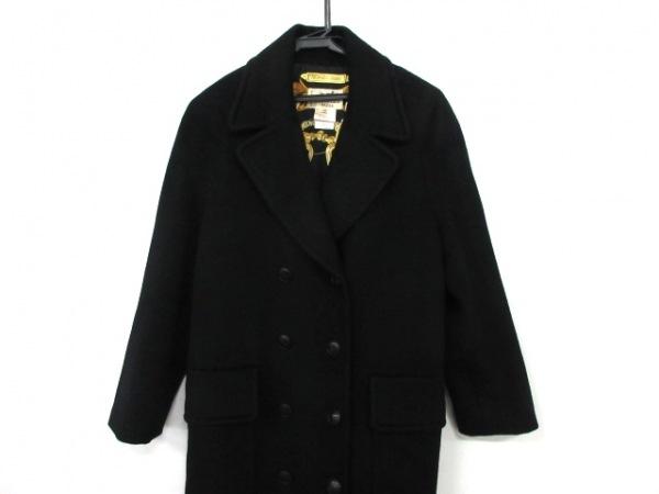 HERMES(エルメス) コート サイズ40 M レディース 黒 カシミヤ/冬物