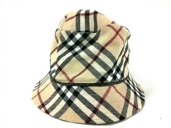Burberry(バーバリー) 帽子 ベージュ×黒×マルチ チェック柄 コットン