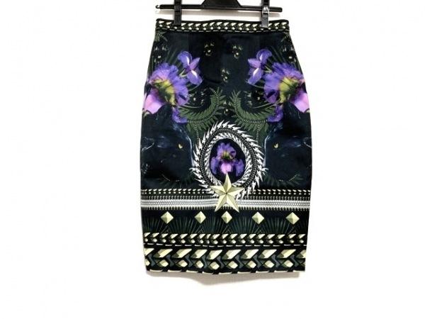 GIVENCHY(ジバンシー) スカート サイズ40 M レディース美品  黒×パープル×マルチ