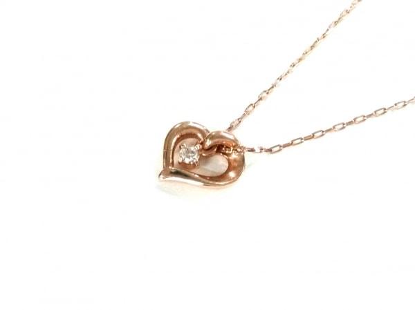 4℃(ヨンドシー) ネックレス美品  K10PG×ダイヤモンド 1Pダイヤ/ハート