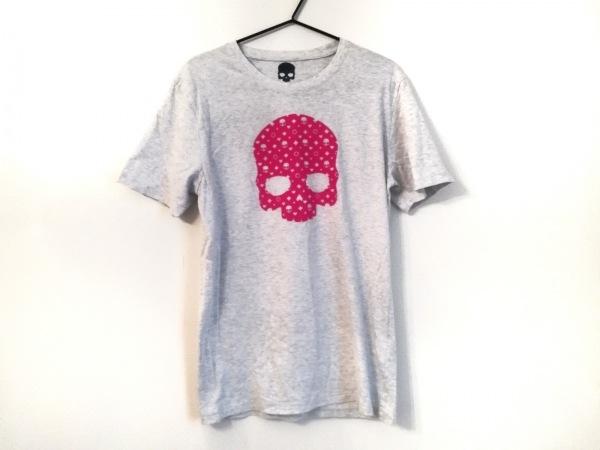 ハイドロゲン 半袖Tシャツ サイズM レディース美品  ライトグレー×ピンク スカル