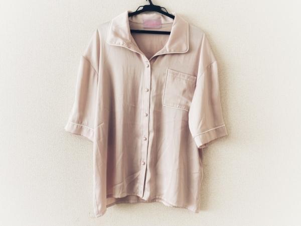 ハニーミーハニー 半袖シャツブラウス サイズF レディース美品  ピンク×白