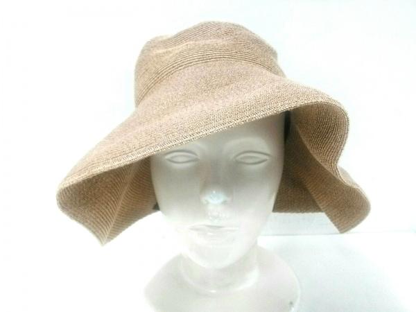 Athena(アシーナ) 帽子 ライトブラウン×ネイビー リボン 指定外繊維(紙)×コットン