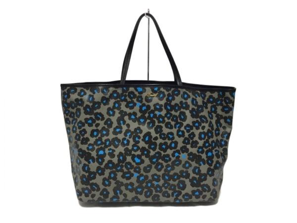 MUVEIL(ミュベール) トートバッグ ベージュ×黒×ライトブルー 豹柄
