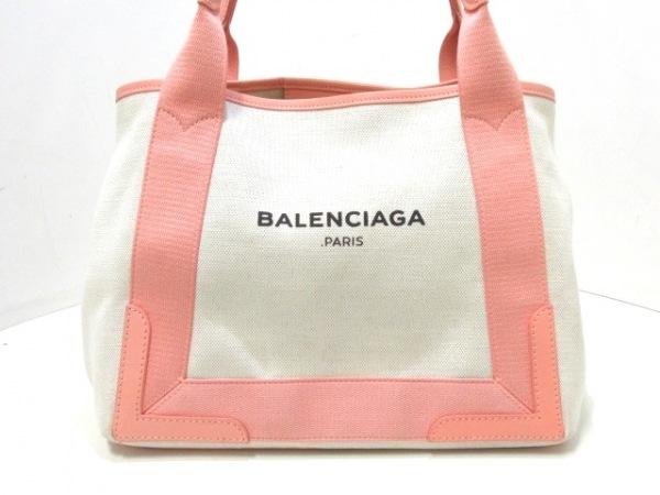 BALENCIAGA(バレンシアガ) トートバッグ美品  ネイビーカバS 339933 ベージュ×ピンク