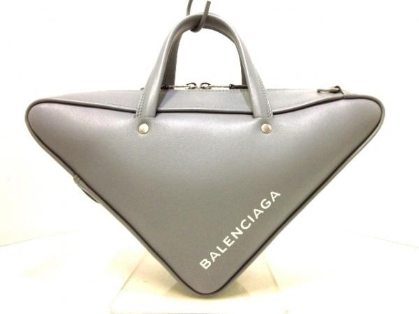 バレンシアガ ハンドバッグ トライアングル ダッフル S 476975 グレー レザー