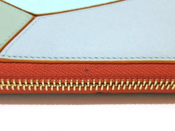 LOEWE(ロエベ) 長財布美品  パズル ライトブルー×ライトグリーン×オレンジ レザー