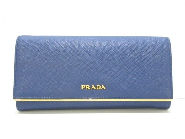 PRADA(プラダ) 長財布 - 1MH132 ゴールド×ブルー レザー×金属素材