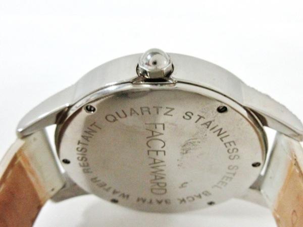 フェイスアワード 腕時計美品  - レディース 革ベルト/ラインストーン シルバー