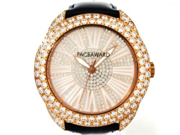 FACEAWARD(フェイスアワード) 腕時計美品  - レディース 革ベルト/ラインストーン 白