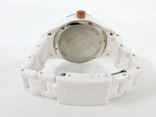 ヴァベーネ 腕時計美品  - レディース 蝶/ラインストーンベゼル 白×ピンクゴールド