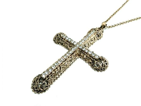 ケネスジェイレーン ネックレス 金属素材×ラインストーン ゴールド×クリア クロス
