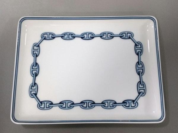 エルメス プレート新品同様  シェーヌダンクル 白×ライトブルー×ネイビー 陶器