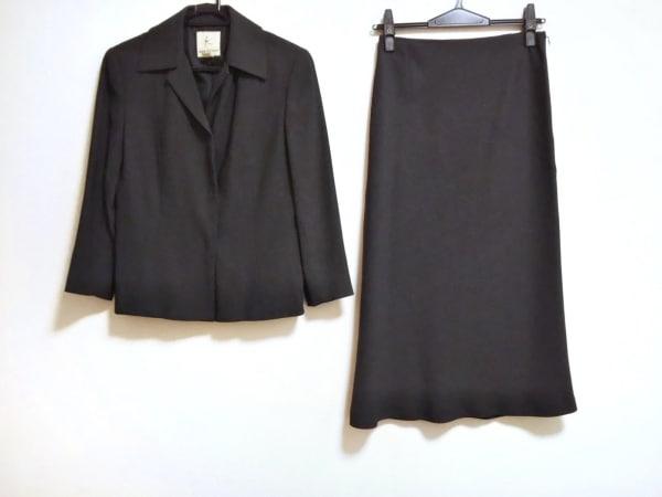 クミキョク スカートスーツ サイズ2 M レディース美品  ダークグレー×グレー