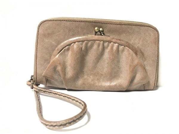 ebagos(エバゴス) 長財布 - - グレーベージュ ラウンドファスナー/がま口 レザー