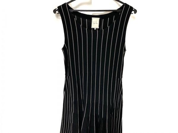 シビラ ワンピース サイズM レディース美品  黒×アイボリー ニット/ストライプ