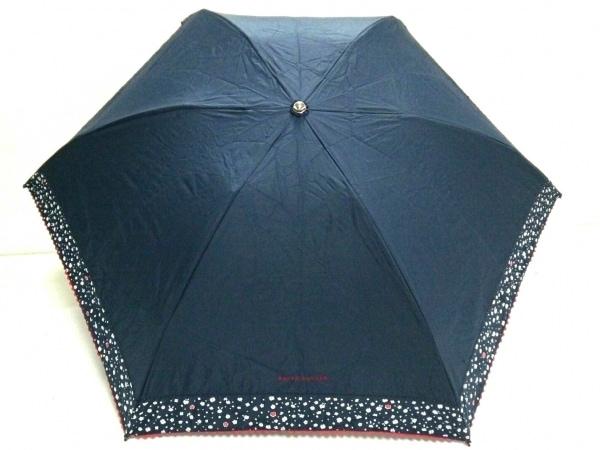 ラルフローレン 折りたたみ傘美品  ネイビー×白×レッド 化学繊維 1