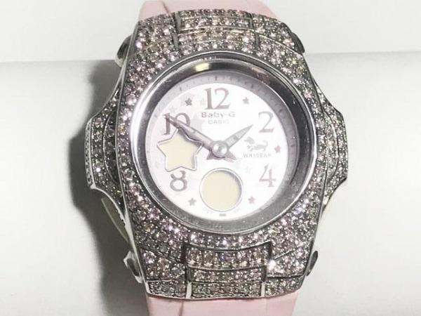 CASIO(カシオ) 腕時計美品  Baby-G BG-90PV レディース ラインストーンベゼル ピンク