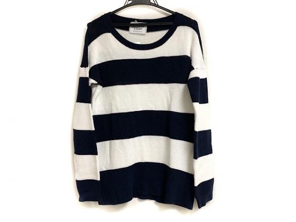 ドゥーズィエム 長袖セーター サイズ12 L レディース美品  ネイビー×白 ボーダー
