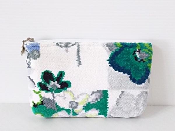 FEILER(フェイラー) ポーチ 白×グリーン×マルチ 花柄 パイル